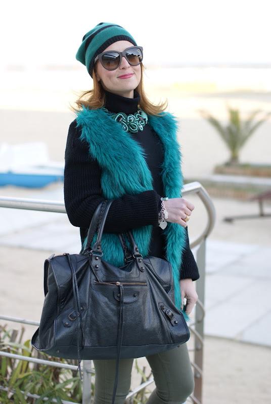 fake fur coat, Fashion and Cookies, Balenciaga Work bag