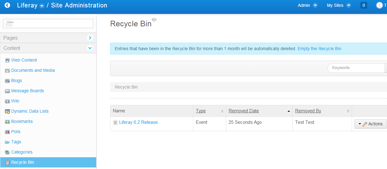 Recycle Bin in Site Administration