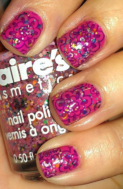 pink multiglitter, stamping