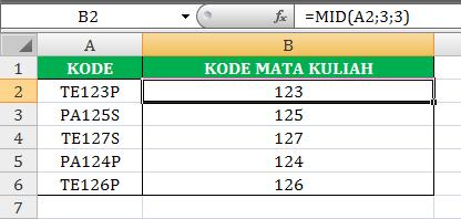 Fungsi Rumus MID di Excel