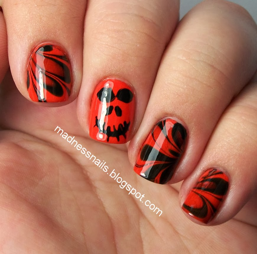 Madness Nails: Jack-O-Lantern Water Marble
