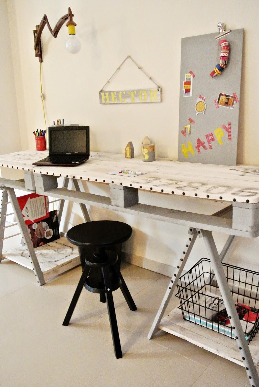 biurko tutorial krok po kroku,opis jak zrobic biurko,co można zrobić z palety,DIY zrób to sam biurko,jasne drewno,dodatki inspiracje blog wnętrzarski