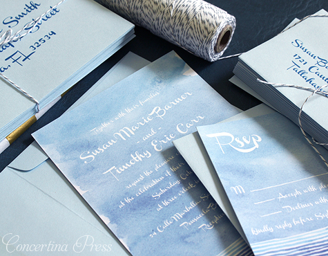 Watercolor Beach Wedding Invitations from Concertina Press