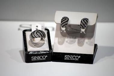 Set inel si cercei aur 18 k diamante albe si negre