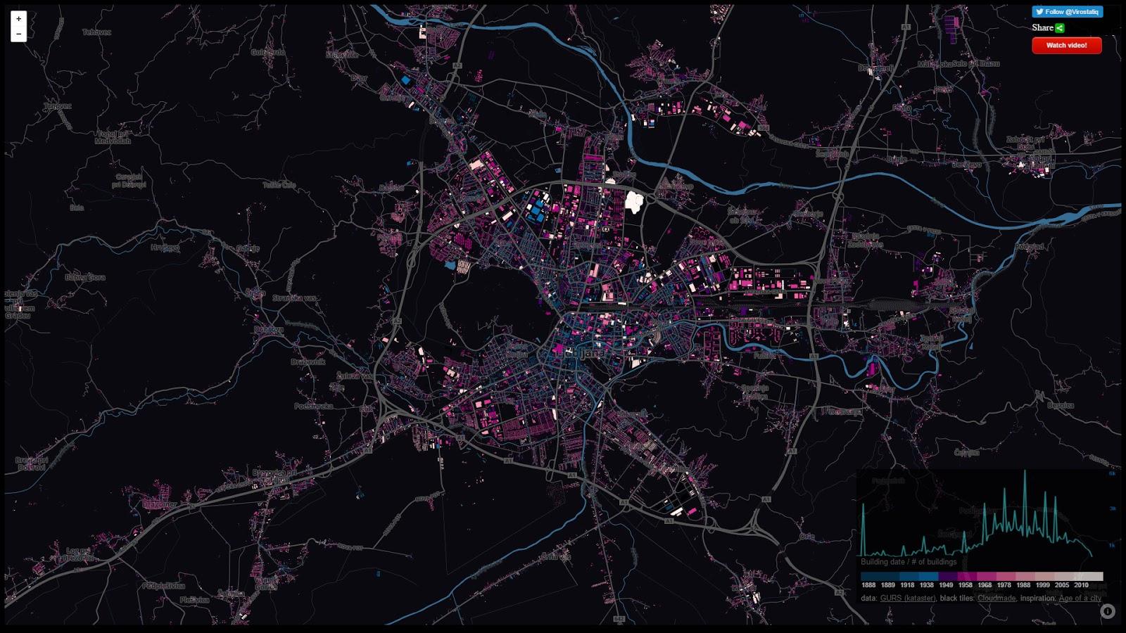 Building age maps: Ljubljana