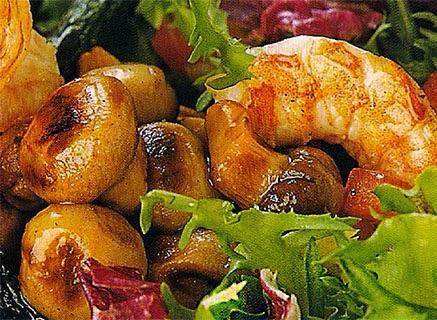Ensalada, ensaladas, champiñón, langostinos, calorías, recetas, alimentación, sana,