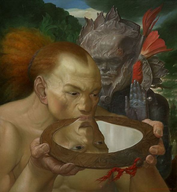 Viktor Safonkin pinturas surreais sombrias medievais mitológicas religião subconsciente Um bebedor de espelho