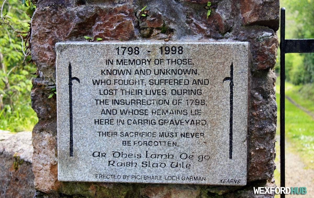 Carrig Graveyard plaque
