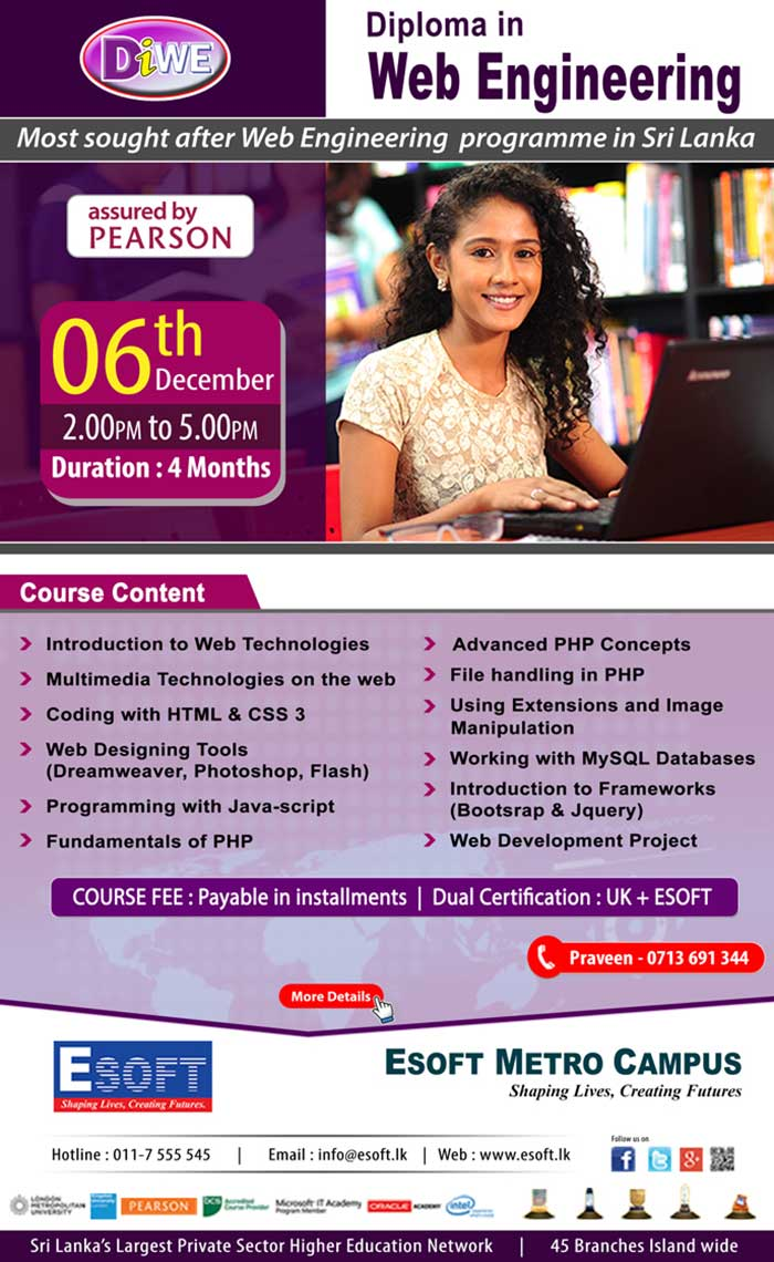 eBusiness and related areas such as eGovernance and eLearning have lead to a demand for qualified web applications developers who are able to develop rich solutions using a multitude of tools and technologies. DIWE will expose the students to a practical environment of web applications engineering allowing them to master the critical technologies. Ideal for those looking for a career in web engineering and also for those that are looking for a revenue earner for self employment