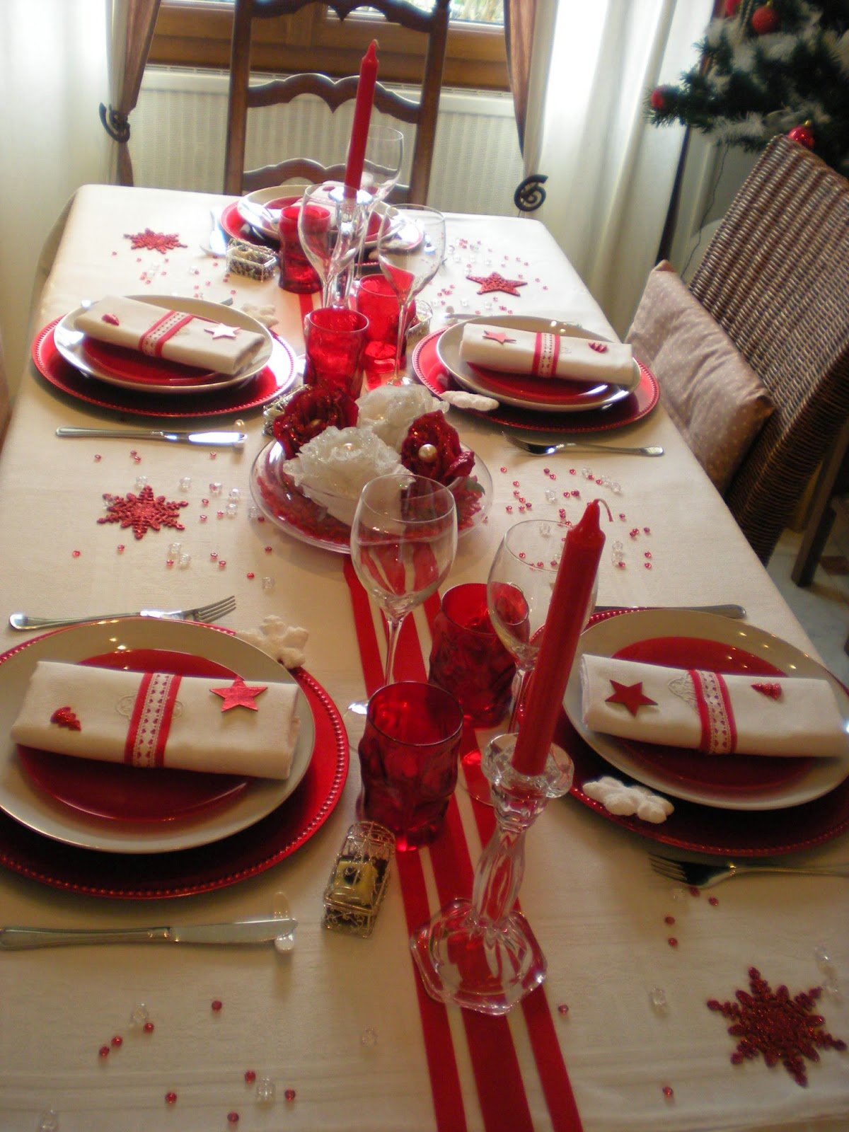 Mon no l en rouge et blanc d co de table th mes - Decoration table de noel rouge et blanc ...