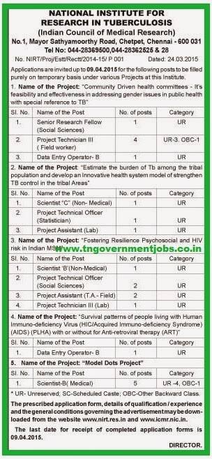 National Institute for Research in Tuberculosis (NIRT) Recruitments (www.tngovernmentjobs.co.in)