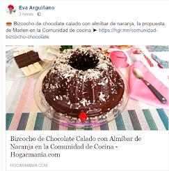 Eva Arguiñano publica en su página oficial mi Bizcocho de Chocolate calado Con almíbar de Naranja