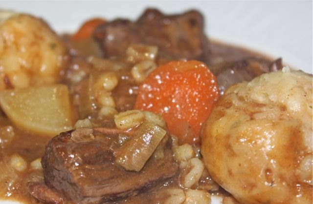 Beef stew with pearl barley
