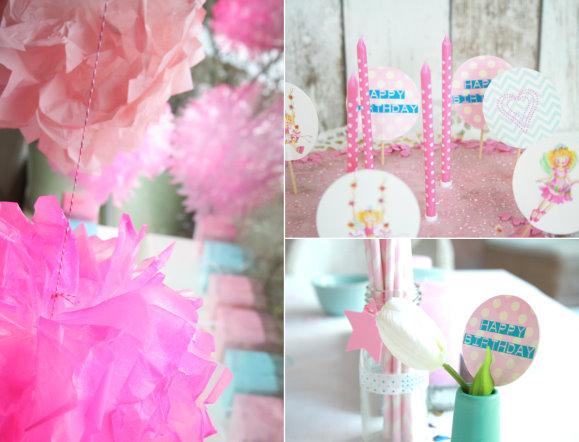 Partydeko für den Kindergeburtstag / Prinzessinnengeburtstag