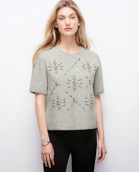 Ann Taylor Cropped snowflake sweater