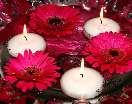 deco fleurs bougies flottantes