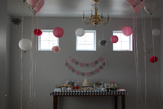 pink/gray wedding themed birthday party