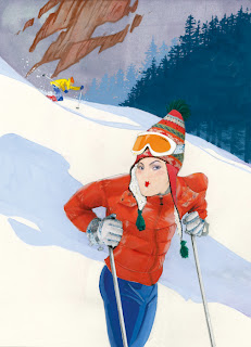 illustration of a woman skiing by Robert Wagt