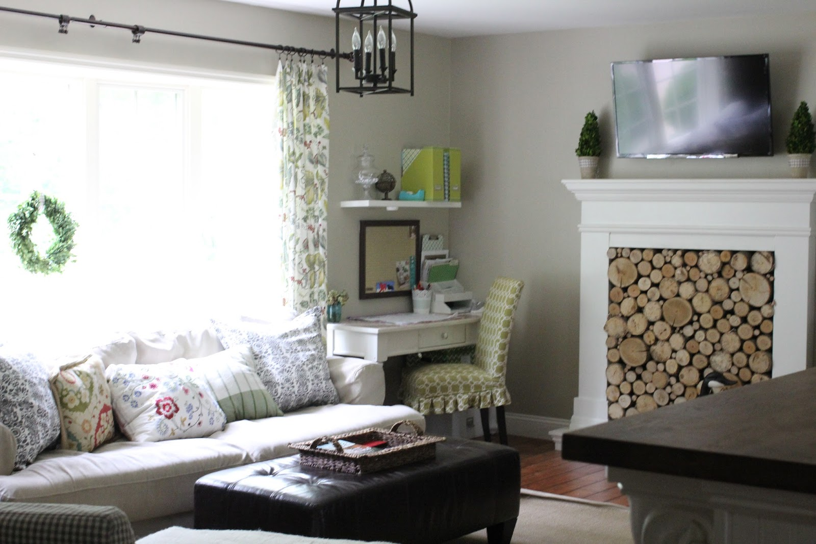 Behr Castle Path Paint, Ikea Hovas Sofa, Faux Fireplace With Stacked Wood  Birch Logs