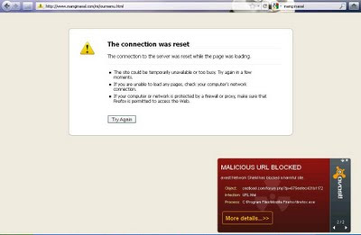 Avast blocked a malicious website