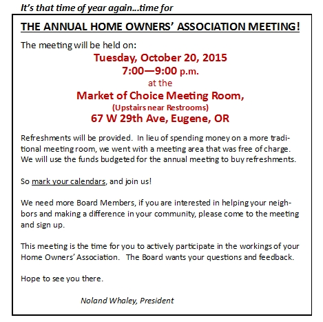 community page of leawood hoa in eugene oregon annual meeting notice. Black Bedroom Furniture Sets. Home Design Ideas