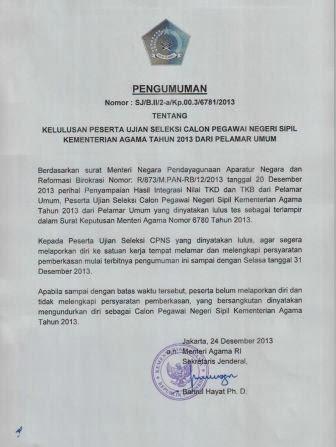 Pengumuman Kelulusan Test CPNS K2 Kemenag Kementerian Agama Tahun 2013 dari Pelamar Umum (1)