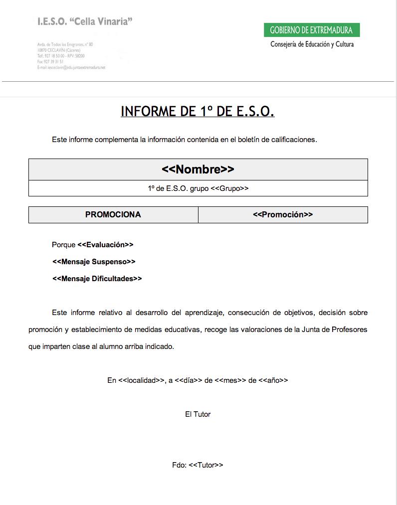 Formulario para informe del tutor de 1º de ESO (y III) | TicIESO