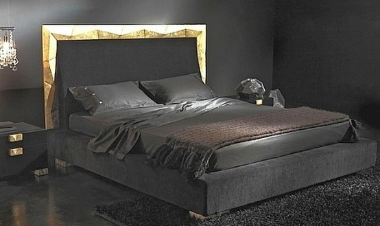 Modern house modern black contemporary bedroom design for Black and gold bedroom ideas