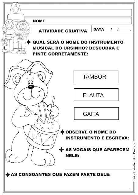 Atividade Educação Infantil Projeto Música na Escola