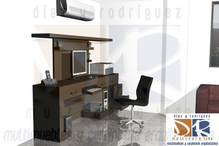 Escritorio y mueble tv willian diaz for Mueble escritorio