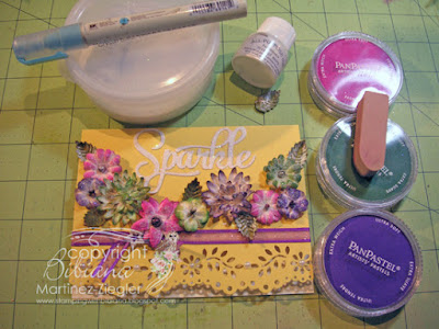 card with painted flowers with panpastels and glitter