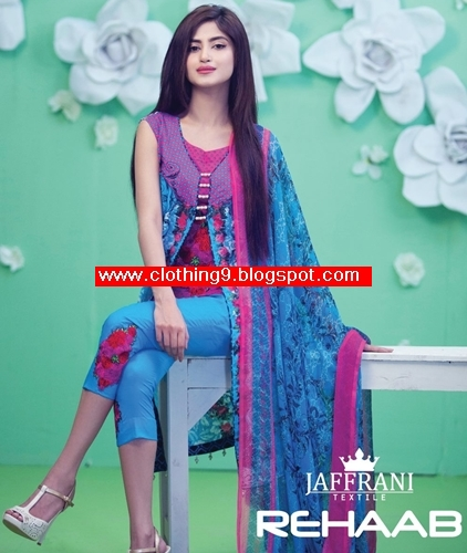 Rehaab Lawn Embroidered Eid Collection