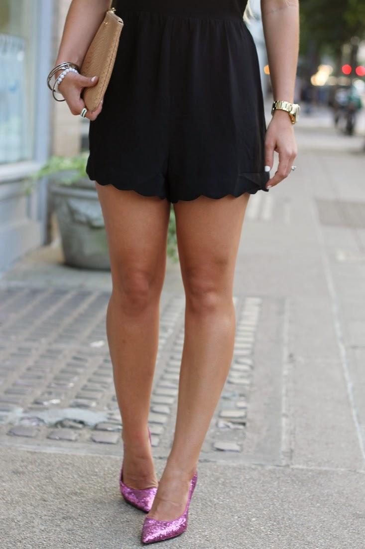 Pink Glitter Heels - Scallop Hem Shorts