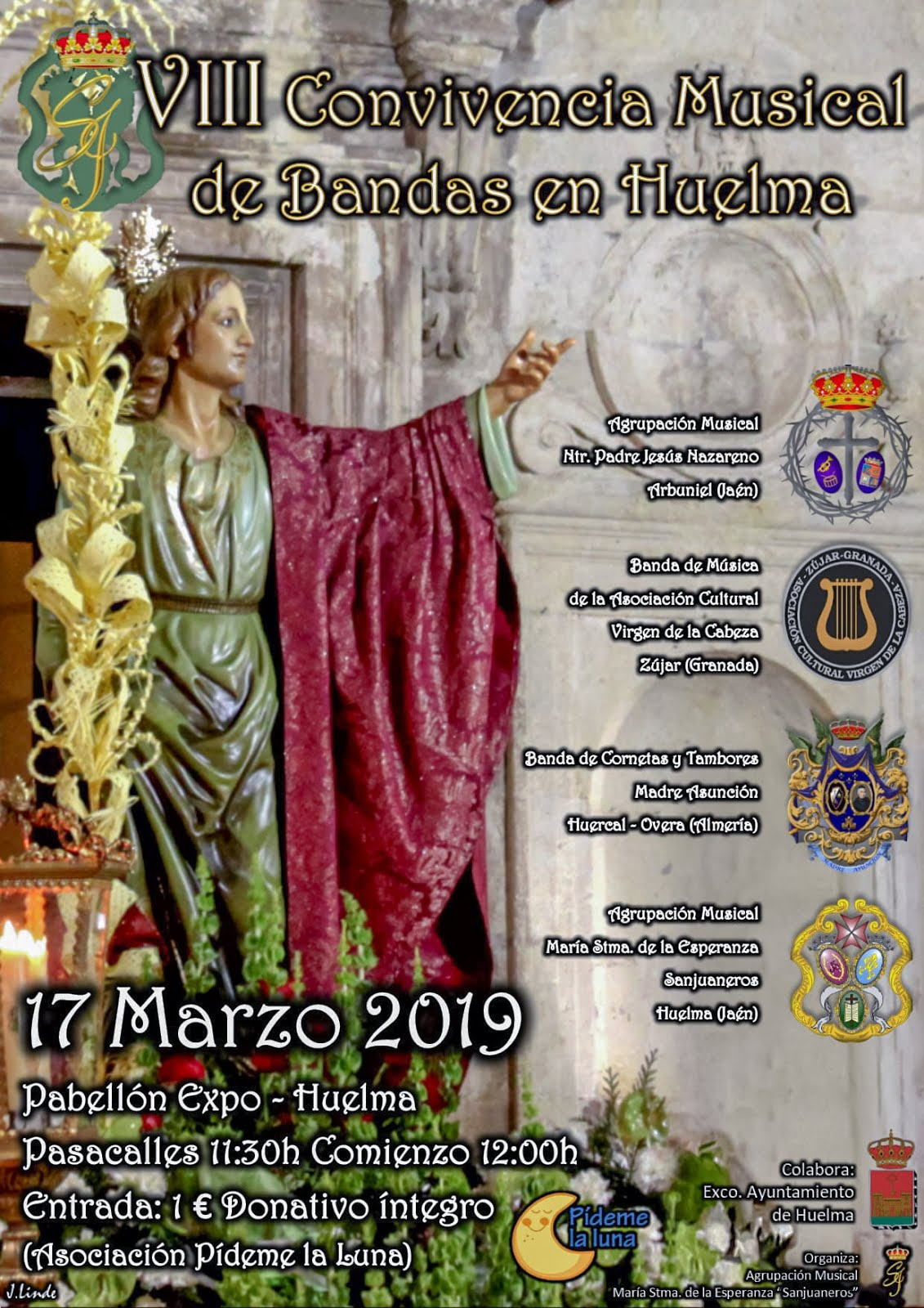 DOMINGO 17 DE MARZO 2019. VIII CONVIVENCIA MUSICAL DE BANDAS EN HUELMA 2019