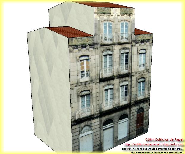Maqueta de papel del Edificio Villanueva, serie Ourense