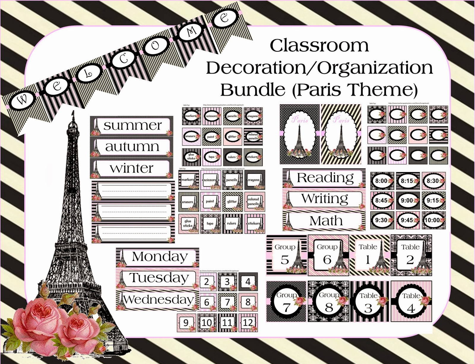 http://www.teacherspayteachers.com/Product/Classroom-Decoration-Bundle-Paris-Theme-570089