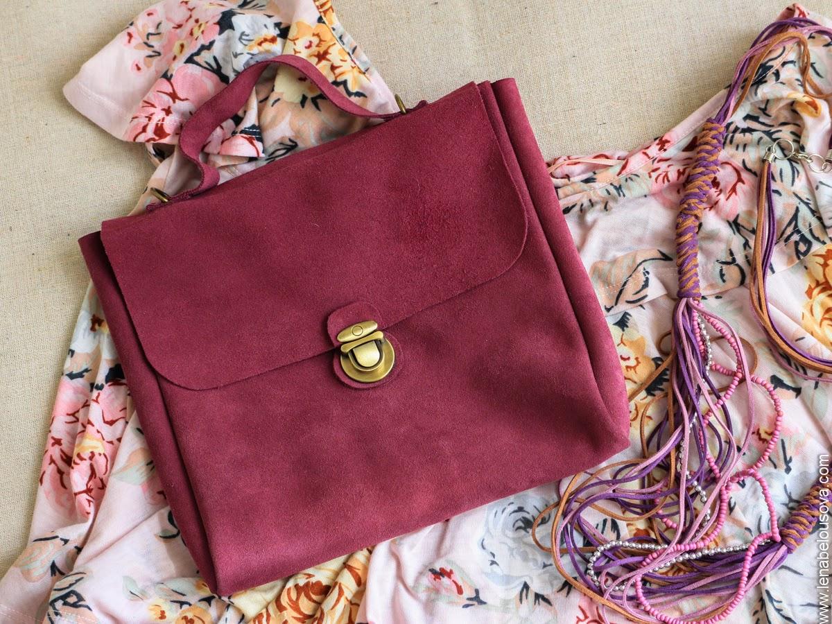 портфель из натуральной розовой замши