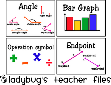 Math Vocabulary Cards - Ladybug's Teacher Files