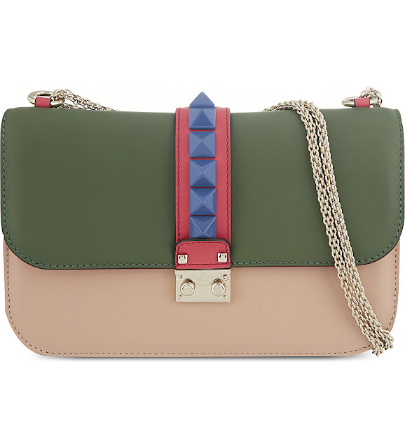 valentino pink green bag, valentino lock studded bag,