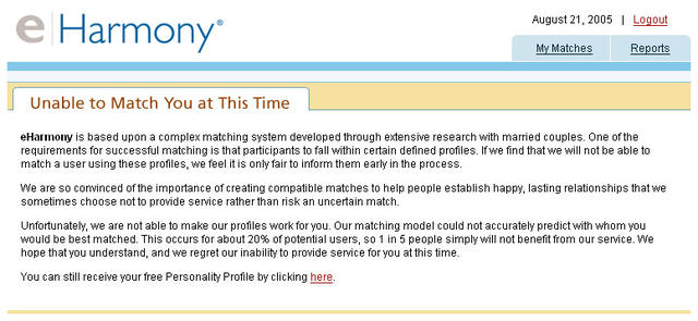 Eharmony application rejected