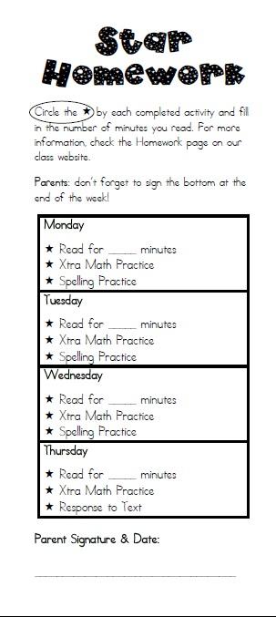 Universal Homework Model: Star Homework - 3rd Grade Thoughts
