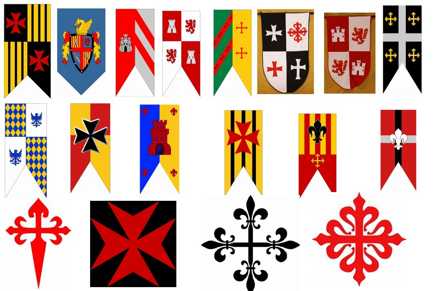viii centenario modelos de estandartes banderas escudos