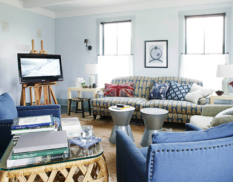 Love The Worn Color Of These Petry Denim Club Chairs In Newel Turner