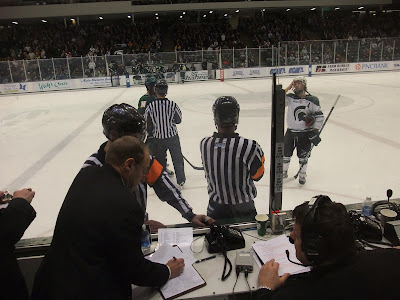 msu vs nmu, hockey, penalty box, referee, munn arena
