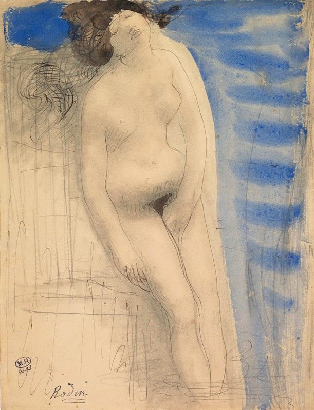 A. Rodin: Femme nue, une main entre les cuisses