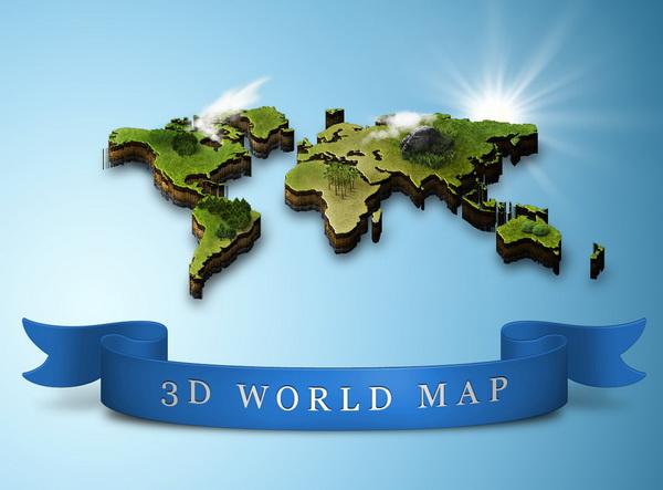 3D World Map Photoshop 9 Images