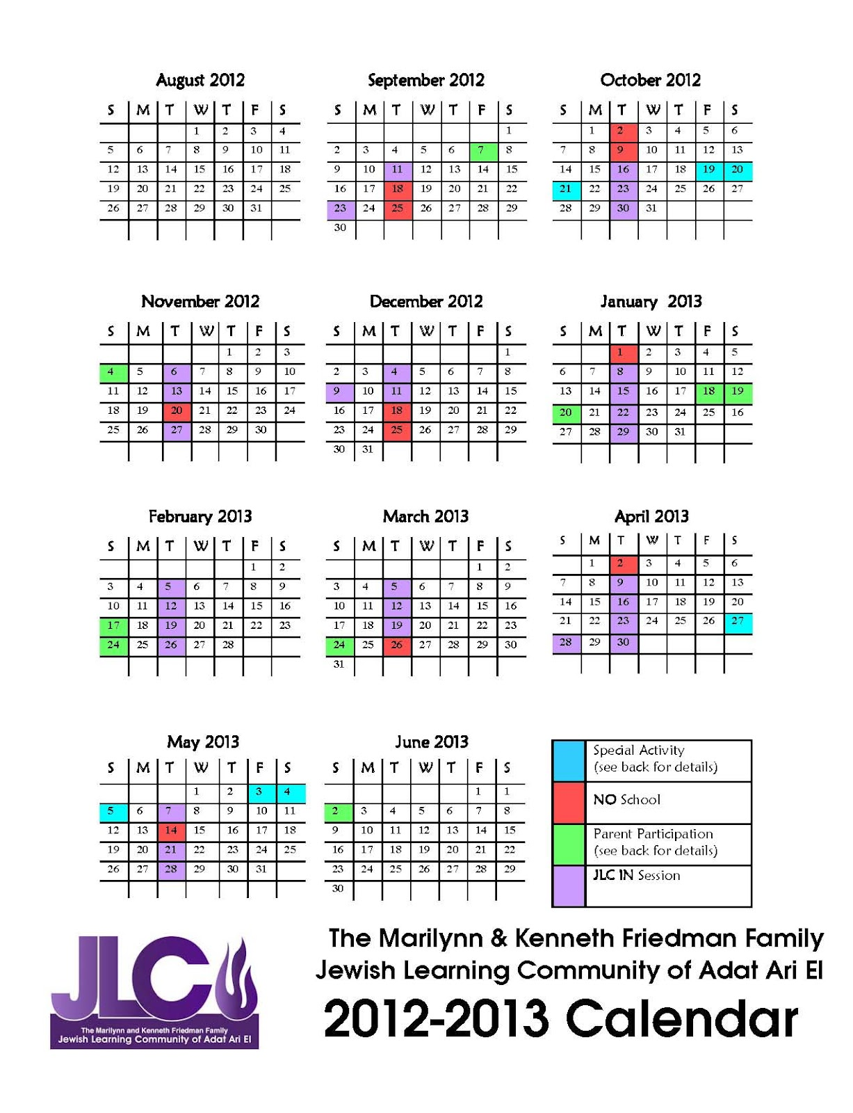 Color coded calendar jewish learning community of adat ari for Color coded calendar template