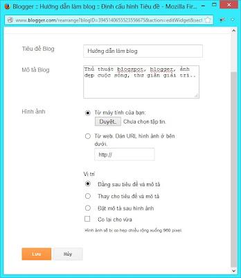 Thay đổi tiêu đề hiển thị cho blogspot
