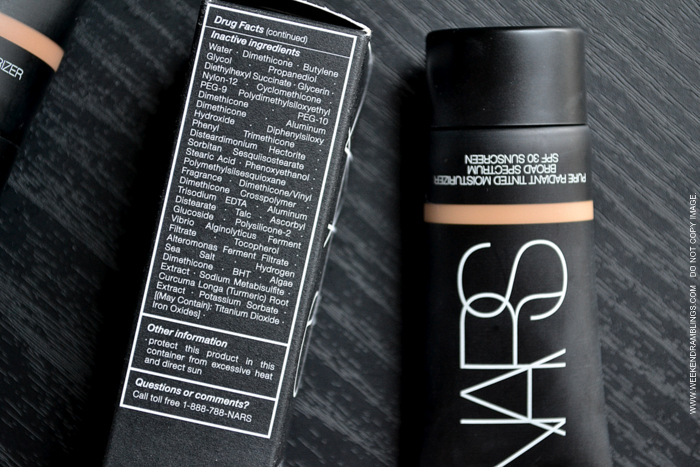 NARS Pure Radiant Tinted Moisturizer SPF 30 New Smaller Size Sephora St. Moritz Annapurna Swatches Makeup Beauty Blog Ingredients