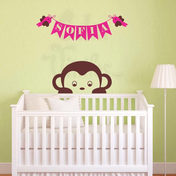 vinilo decorativo infantil bebe para pared, monito, mono, pajaritos, pajaros, banderin, nombre